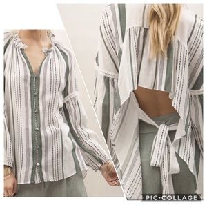 MOON RIVER Striped Boho Tie Open Back Blouse Large